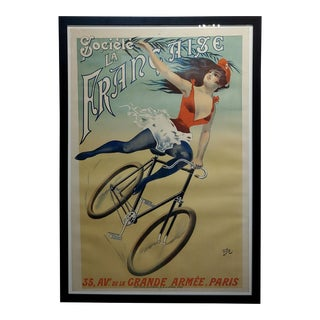 Cycles Société La Française -Girl on Bicycle-Original 1900 French Poster by Pal For Sale