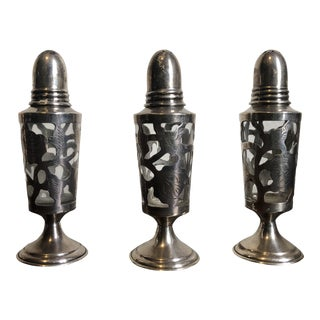 Antique Sterling Silver Victorian Style Salt & Pepper Shakers - Set of 3 For Sale