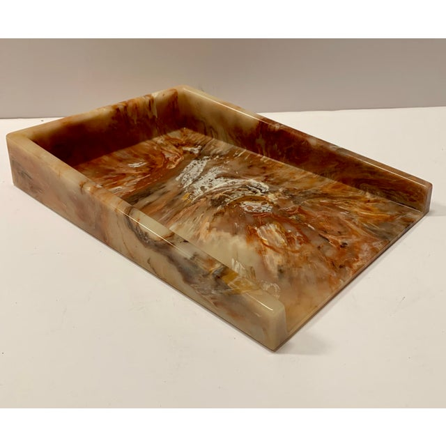 Faux Onyx Resin Desk Inbox Paper Holder For Sale In New York - Image 6 of 13