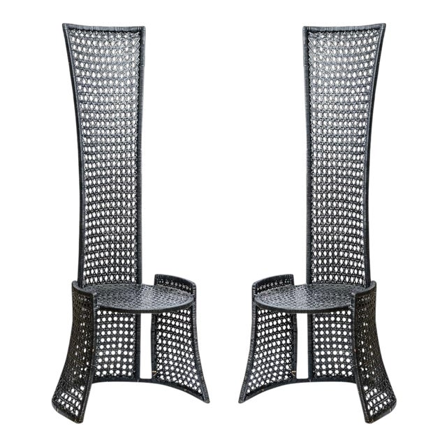 Unusual Mid-Century High Back Black Woven Rattan Cane Chairs, A-Pair For Sale