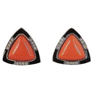 1980s Kenneth Lane Deco Style Faux-Coral Rhinestone & Enamel Earrings For Sale