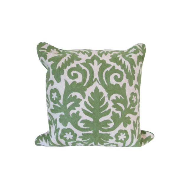 Green Crewel Embroidered Pillow - Image 1 of 5