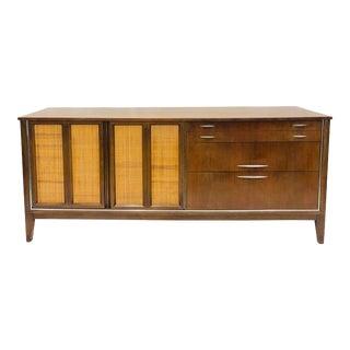 Vintage Mid Century Modern Woven Panel Credenza Dresser For Sale