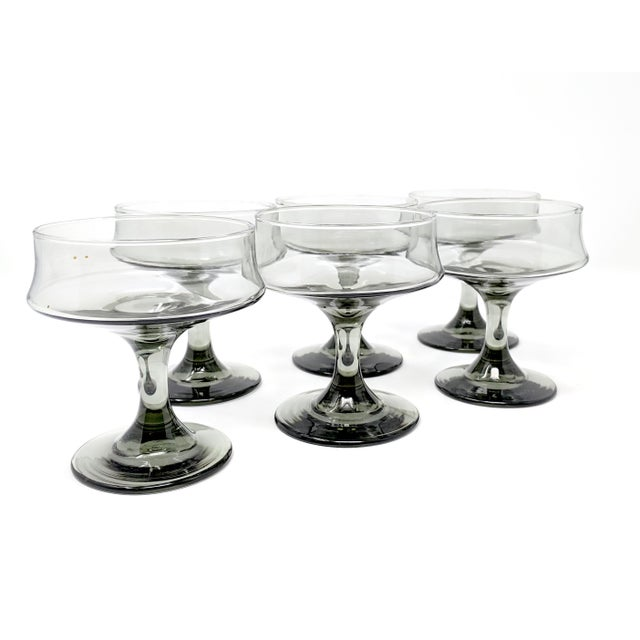Glass Mid-Century Modern Smoke-Colored Cocktail Glasses - Set of 6 For Sale - Image 7 of 7