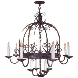 French Provincial Wrought Iron 12-Light Chandelier For Sale