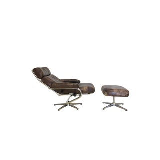 Mid Century Reclining Leather Patchwork Lounge Chair and Ottoman Preview