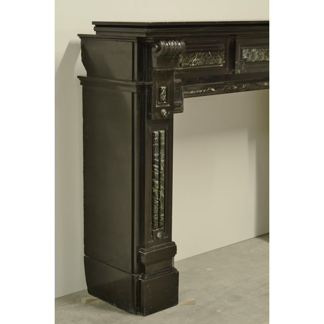 Monumental Dutch Black Marble Fireplace Mantel with Green Details For Sale - Image 4 of 5