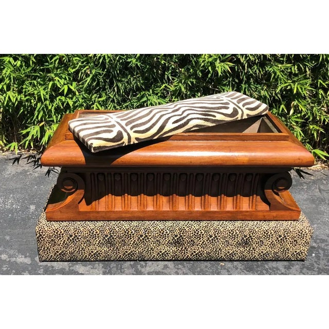 Carved Italian Neoclassical Mahogany Metamorphic Window Bench Jardiniere For Sale - Image 4 of 8