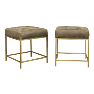 Pair of Vintage Italian 1960s Brass Stools with Green Tufted Leather Upholstery