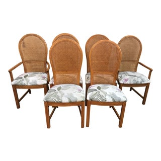 Contemporary Thomasville High Cane Back Dining Chairs- Set of 6 For Sale