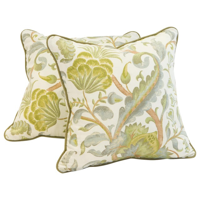 Floral Duck Egg Pillows - a Pair For Sale