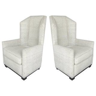 Hampton Wingback Chairs by Raul Carrasco, Pair For Sale