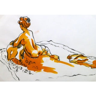 Kei Mitsuuchi, French Ink & Watercolor - Orange Nude For Sale