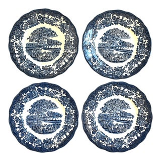Royal Worcester Blue & White Plates - Set of 4 For Sale
