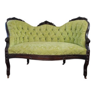 Late 19th Century Antique Victorian Green Tufted Upholstered Loveseat For Sale