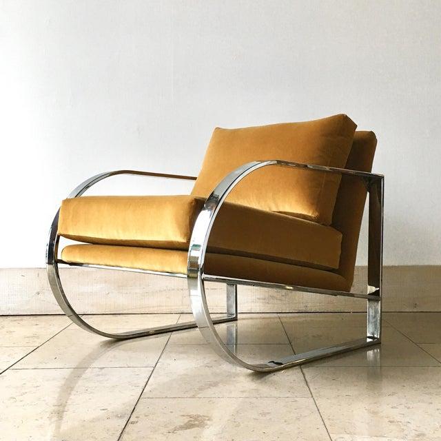 Chromium Steel Framed Velvet Armchairs 1970s For Sale - Image 6 of 11