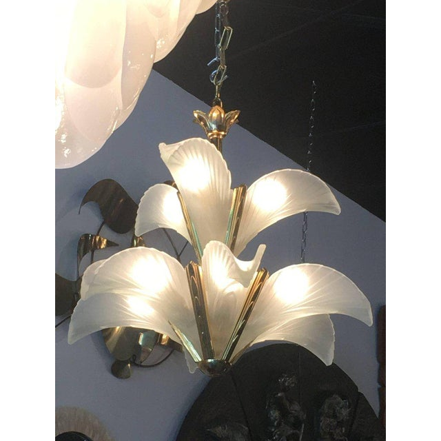 Italian Murano Glass & Brass Palm Tree Frond Leaf Chandelier For Sale - Image 11 of 12
