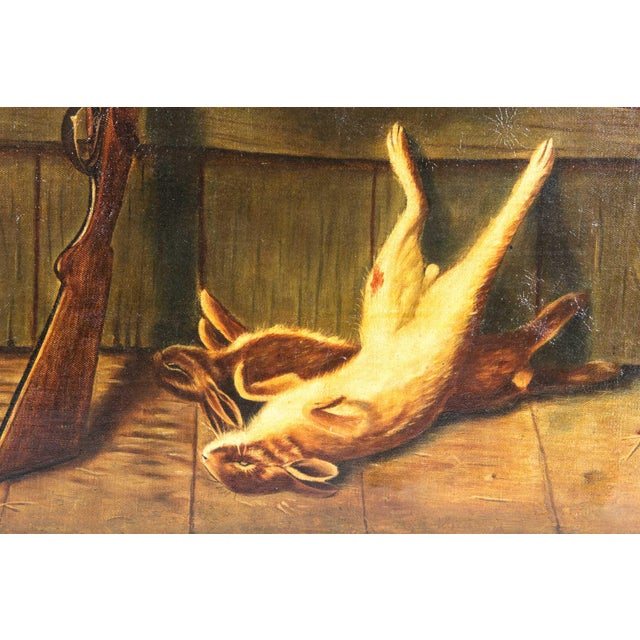 Gold Early 20th Century Trompe l'Oeil Oil Painting With Wood Frame For Sale - Image 8 of 11