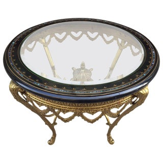 Italian Bronze Table with Ebonized Top and Mother-of-Pearl Inlay For Sale