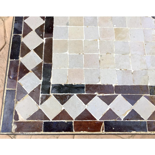 Moroccan Square Brown and Grey Mosaic Tile Coffee Table on Iron Base For Sale - Image 11 of 12