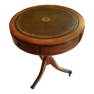 "Vintage Mahogany 20"" Leather Top Round Drum Side Table and Claw Foot Casters For Sale"