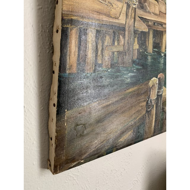 Canvas Rustic Vintage Sailing Ship Painting Oil on Canvas Signed by Artist J H Johnson For Sale - Image 7 of 13