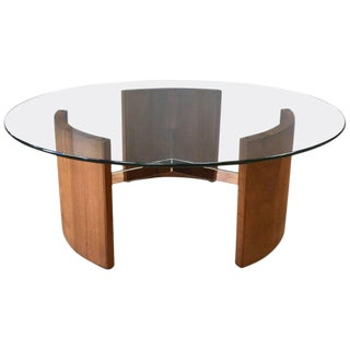 Vladimir Kagan Walnut and Polished Metal Radius Coffee Table For Sale