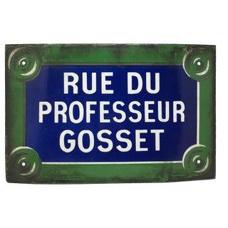 Vintage French Paris Enamel Street Sign, Rue Du Professeur Gosset For Sale