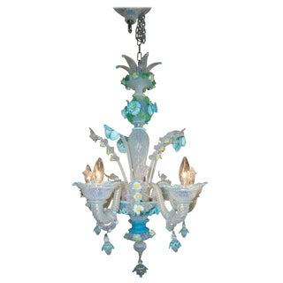 1970s Murano Opaline Glass Chandelier Flowers by Galliano Ferro For Sale