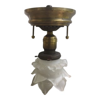 Vintage Brass Ceiling Fixture With Blown Glass Flower Shade For Sale