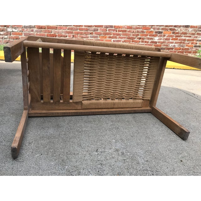 Wood Hans Wegner Style Teak Woven Bench, 1970s For Sale - Image 7 of 8