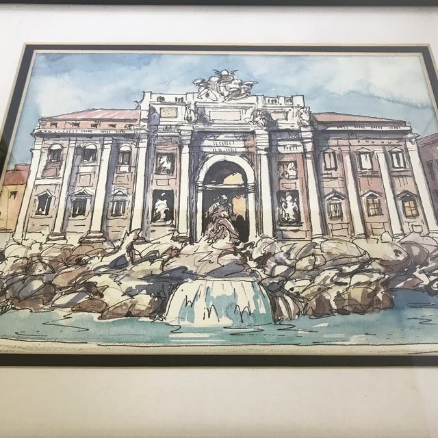 Illustrated pen and ink print of the iconic Trevi fountain in Rome, Italy likely dates from 1990's or thereafter. Framed...