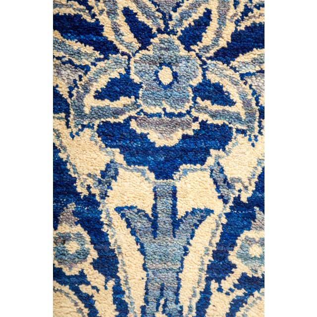 "New Blue Suzani Hand-Knotted Rug - 5'6"" X 9'4"" - Image 3 of 3"