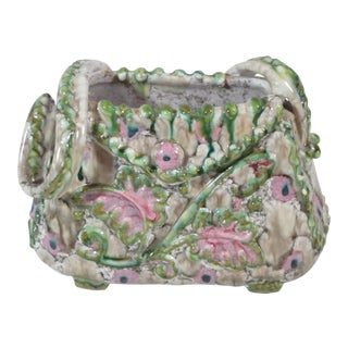 1960s Boho Chic Green and Pink Pottery Purse Figurine