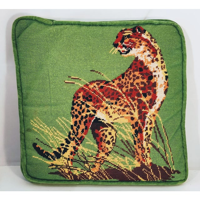 Gorgeously green vintage needlepoint cheetah in the grass pillow. The back is entirely green velvet and the shape is...
