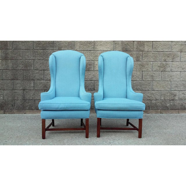 Mid Century High Back Wing Arm Chairs-A Pair For Sale - Image 4 of 6