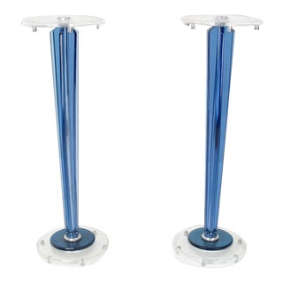 Early 20th Century Clear and Blue Lucite Tapered Bases Pedestals- A Pair For Sale