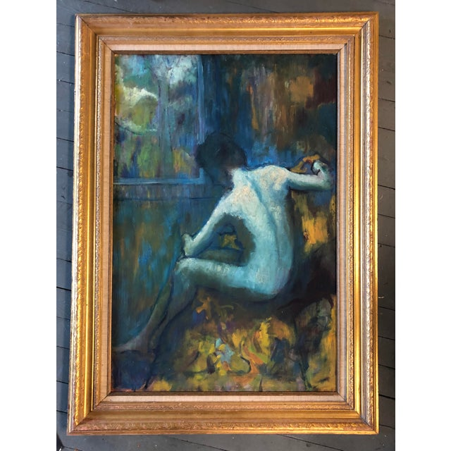 Original painting on Masonite 24 x 36 Overall size with vintage frame is 32 x 44 from a collection of Unsigned beautiful...