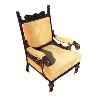 Victorian Rosewood and Gilt Decorated Arm Chair