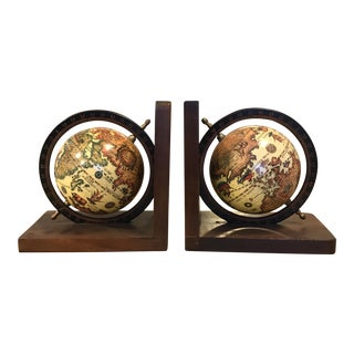 Italian Globe Bookends - A Pair