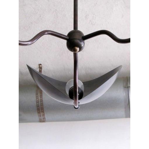 """Chiton"" Three Arm Brass Chandelier - Image 6 of 9"