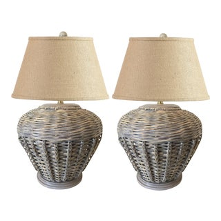 Antique designer french provincial table lamps decaso large pair of 1970s malibu style wicker table lamps aloadofball Image collections