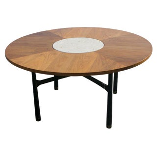 Harvey Probber Walnut and Travertine Marble Table For Sale