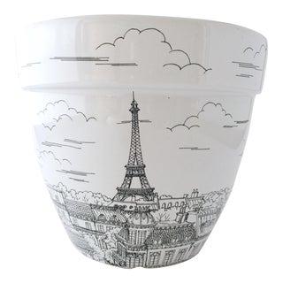 White Ceramic Paris Eiffel Tower Planter For Sale