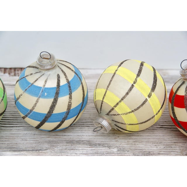 Boho Chic Striped West German Christmas Ornaments - Set of 5 For Sale - Image 3 of 11