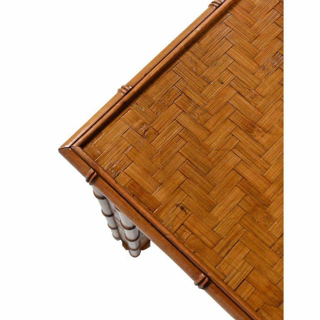Hollywood Regency Hollywood Regency Parsons Style Rattan Basket Weave Parquet Dining Table For Sale - Image 3 of 6