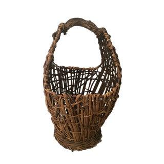 1980s Vintage Primitive Handmade Woven Rattan Basket For Sale
