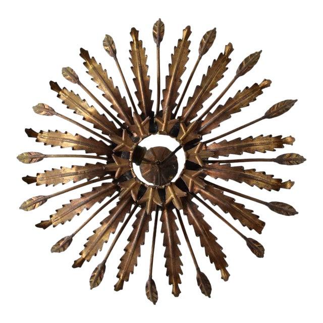 Spanish Gilt Metal Sunburst Leaves Flush Mount For Sale