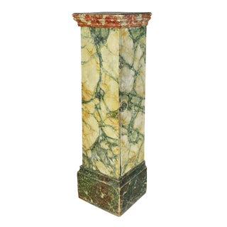 Faux Marble Painted Wood Pedestal Cabinet For Sale