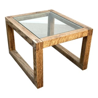 Oak & Glass Top Cocktail Table by Thomas O'Brien for Aero Studios For Sale